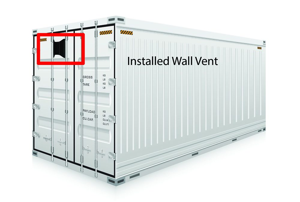 Container with Installed Wall Vent
