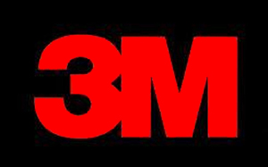 3M logo | red text on black background