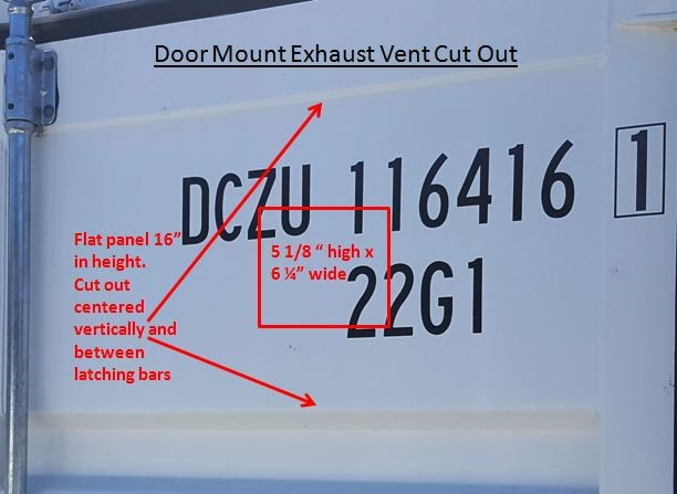 360 Products North America door mount exhaust vent cut out dimensions