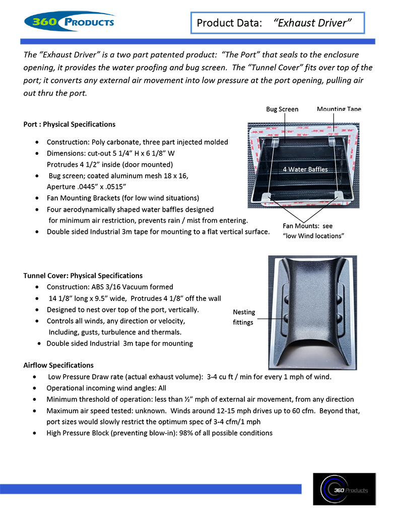 Exhaust Vent Technical Data Specifications PDF Screenshot